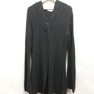 CAbi Charcoal grey hooded duster cardigan Medium